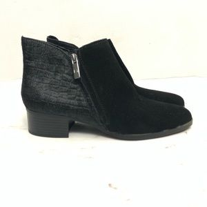 H by Halston Black Croc Embossed Calf Hair Booties
